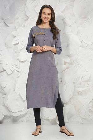 Simple And Elegant Looking Readymade Kurti Is Here In Grey Color Fabricated On Rayon Slub. It Is Light In Weight And Easy To Carry All Day Long.