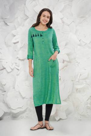 Simple And Elegant Looking Readymade Kurti Is Here In Sea Green Color Fabricated On Rayon Slub. It Is Light In Weight And Easy To Carry All Day Long.