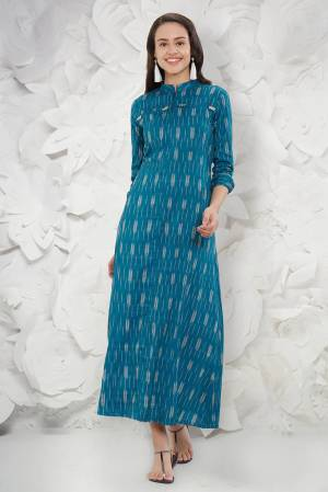 Grab This Beautiful Designer Readymade Kurti In Blue Color Fabricated On Rayon Beautified With Ikkat Prints All Over It. It Is Available In All Regular Sizes. Buy Now.