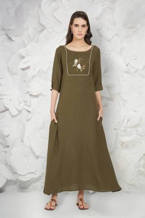New Shade Is Here Green With This Designer Readymade Kurti In Olive Green Color Fabricated On Linen. Its Fabric Is Soft Towards Skin And Easy To Carry All Day Long.
