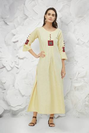 Rich And Elegant Looking Designer Readymade Kurti Is Here In Cream Color Fabricated On Cotton. This Kurti Is Light In Weight And Easy To Carry All Day Long.