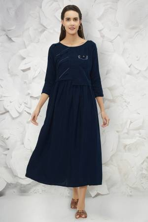 You Will Earn Lots Of Compliments Wearing This Designer Readymade Kurti In Navy Blue Color Fabricated On Cotton. This Kurti  Is Soft Towards Skin And Easy To Carry all Day Long. Buy This Now.