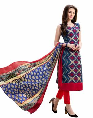 Grab This Designer Dress Material For Your Semi-Casuals In Navy Blue Colored Top Paired With Red Colored Bottom And Multi Colored Dupatta. Its Top Is Fabricated On Chanderi Silk Paired With Cotton Bottom And Chiffon Dupatta.