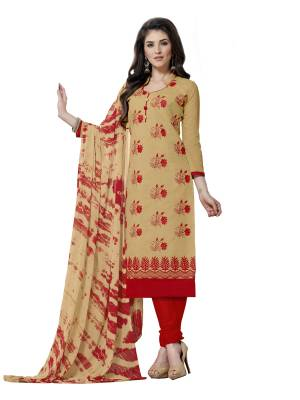 Simple and Elegant Looking Straight Suit Is Here In Beige Colored Top Paired With Red Colored Bottom And Beige Dupatta. Its Top IS Fabricated Chanderi Silk Paired With Cotton Bottom And Chiffon Fabricated Dupatta.