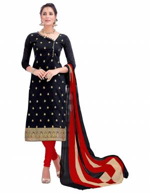 If Those Readymade Suit Does Not Lend You The Desired Comfort, Than Grab This Dress Material In Black Colored Top Paired With Red Bottom And Black And Red Dupatta. Get This Stitched As Per Your Desired Fit And Comfort.