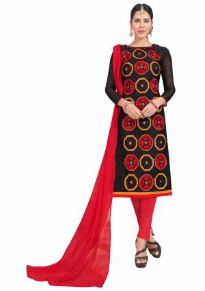 If Those Readymade Suit Does Not Lend You The Desired Comfort, Than Grab This Dress Material In Black Colored Top Paired With Red Bottom And Red Dupatta. Get This Stitched As Per Your Desired Fit And Comfort.