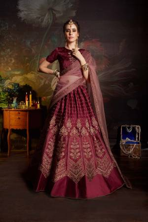 You Will Earn Lots Of Compliments Wearing This Pretty Color Pallete With This Designer Lehenga Choli In Magenta Pink Color Paired With Baby Pink Colored Dupatta. This Lehenga Choli Is Fabricated On Satin Paired With Net Fabricated Dupatta. Buy Now.