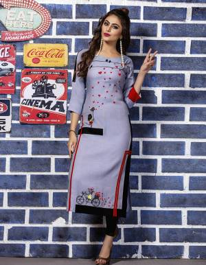 Here Is Pretty Kurti In Steel Blue Color For Your Semi-Casual Wear. This Kurti Is Fabricated Rayon Beautified With Thread Work. It Is Available In All Regular Sizes.