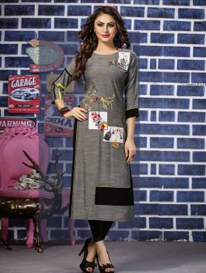 Rich And Elegant Looking Readymade Kurti Is Here In Grey Color Fabricated On Rayon Beautified With Thread Work. It Is Light Weight And Easy To Carry All Day Long.