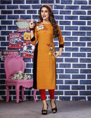 Add This Very Pretty Readymade Kurti To Your Wardrobe In Orange Color. This Kurti IS Fabricated On Rayon Beautified With Thread Work. It Is Suitable For Semi-Casuals Or Office Wear. Buy Now.