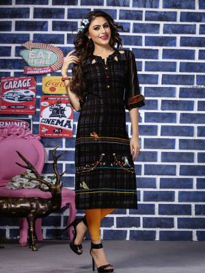 For Your Semi-Casuals Or At Your Work Place, Grab This Readymade Kurti In Black Color Fabricated On Rayon. This Kurti Is Beautified With Thread Work And Available In All Regular Sizes.
