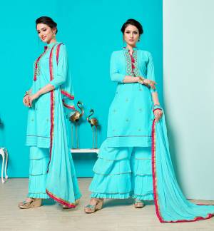 Grab This Designer Straight Suit For Your Semi-Casuals Of Festive Wear. This Dress Material Is Cotton Based Paired With Chiffon Fabricated Dupatta, Buy This Now.