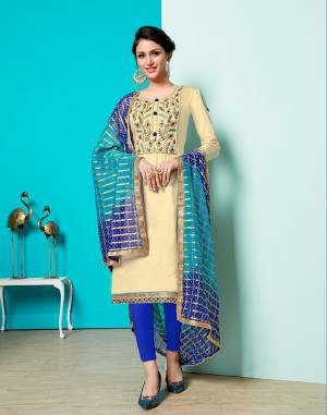 Grab This Designer Straight Suit For Your Semi-Casuals Of Festive Wear. This Dress Material Is Cotton Based Paired With Georgette Jacquard  Fabricated Dupatta, Buy This Now.