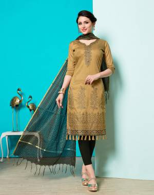 Grab This Designer Straight Suit For Your Semi-Casuals Of Festive Wear. This Dress Material Is Cotton Based Paired With Jacquard Silk Fabricated Dupatta, Buy This Now.