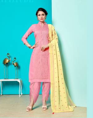 Grab This Designer Straight Suit For Your Semi-Casuals Of Festive Wear. This Dress Material Is Cotton Based Paired With Soft Silk Fabricated Dupatta, Buy This Now.