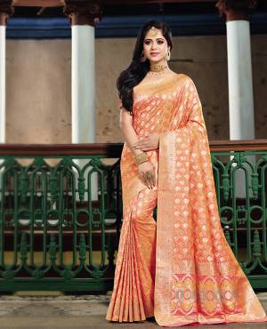 This Festive Season, Grab This Designer Silk Based Saree Which Gives A Rich Look To Your Personality. This Saree And Blouse Are Fabricated On Art Silk Beautified With Heavy Weave All Over The Saree. Buy Now.
