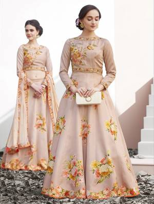 New And Unique Pattenered Designer Lehenga Choli Is Here For The Upcoming Wedding Season. This Lehenga Choli Is Fabricated On Satin Silk Paired With Chiffon Silk Dupatta. It Is Beautified With Digital Prints And Stone Work .