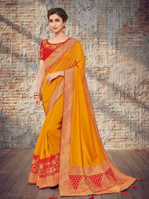 Vibrant and visually appealing, this Musturd yellow color two tone silk fabrics saree. Ideal for party, festive & social gatherings. this gorgeous saree featuring a beautiful mix of designs. Its attractive color and designer heavy design, stone design, silk art design and beautiful design all over work over the attire & contrast hemline adds to the look. Comes along with a contrast unstitched blouse.