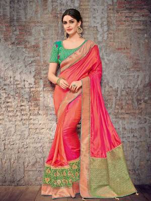 Look your ethnic best by wearing this Fuschia Pink color two tone silk fabrics saree. Ideal for party, festive & social gatherings. this gorgeous saree featuring a beautiful mix of designs. Its attractive color and designer heavy design, stone design, silk art design and beautiful design all over work over the attire & contrast hemline adds to the look. Comes along with a contrast unstitched blouse.