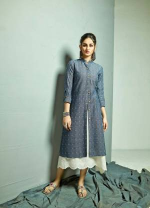 Another New And Unique Patterned Readymade Kurti With Jacket IS Here In White Colored Top Paired With Blue Colored Jacket, This Lovely Pair Is Cotton Based Beautified With Prints And Thread Work. It Ensures Superb Comfort all Day Long.