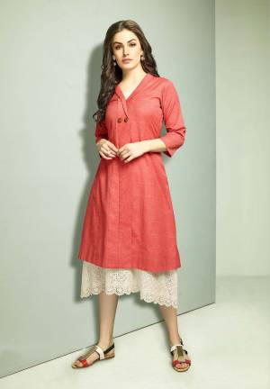 Grab This Designer Patterned Readymade Kurti In Off-White Color Paired With A Very Smart Red Colored Jacket. This Top And Jacket Are Fabricated On Cotton Beautified With Prints And Thread Work.
