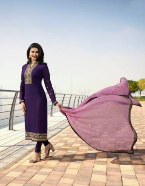 Shine Bright These Summer With This Bright Shades Like This Designer Straight Suit In Violet Color Paired With Contrasting Lilac Colored Dupatta. Its Top Is Fabricated On Georgette Satin Paired With Santoon Bottom And Georgette Fabricated Dupatta. Buy Now.