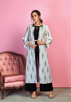 For A Bold And Beautiful Look, Grab This Designer Indo Western Dress In Black Colored Crop Top And Pant Paired With Light Grey Colored Printed Jacket. Its Top And Bottom Are Cotton Satin Based Paired With Handloom Cotton Printed Jacket.