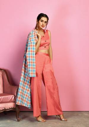 For Your Utmost Comfort Grab This Designer Indo-Western Dress In Dark Peach Colored Crop Top and Pant Paired With Multi Colored Checks Printed Jacket. Its Pretty Top And Pant Are cotton Satin Based Paired With Handloom Cotton Fabricated Jacket. Buy Now.
