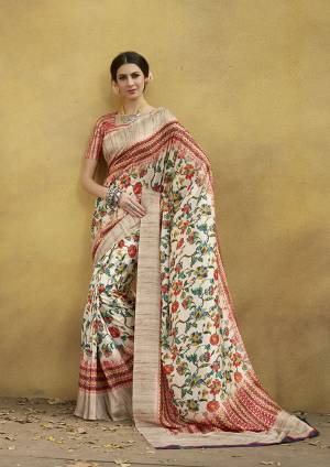 Grab This Beautiful Designer Silk Based Saree For The Upcoming Festive Season. This Saree And Blouse Are Fabricated On Tussar Art Silk Beautified With Prints All Over It. Buy Now.