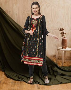 For an All Over Look, Grab This Designer Dress Material In Black Color. This Dress Material Is Cotton Based Paired With Chiffon Fabricated Dupatta. Its Pretty Multi Colored Thread Work Is Giving This Suit An Attractive Look.