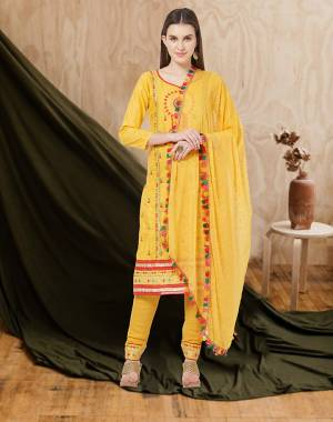 For an All Over Look, Grab This Designer Dress Material In Yellow Color. This Dress Material Is Cotton Based Paired With Chiffon Fabricated Dupatta. Its Pretty Multi Colored Thread Work Is Giving This Suit An Attractive Look.