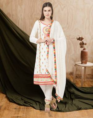 For an All Over Look, Grab This Designer Dress Material In White Color. This Dress Material Is Cotton Based Paired With Chiffon Fabricated Dupatta. Its Pretty Multi Colored Thread Work Is Giving This Suit An Attractive Look.