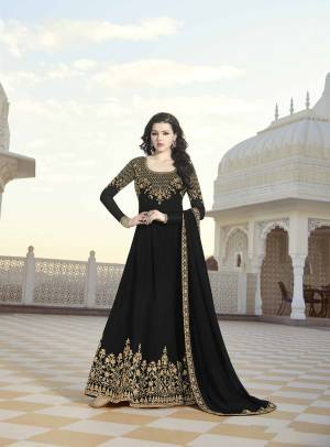 Grab This Designer Floor Length Suit Which Gives A Bold And Beautiful Look To Your Personality. This Suit Is Georgette Based Beautified With Heavy Attractive Embroidery Beautified With Stone Work. Buy This Suit Now.