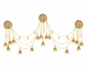 Another Stylish And Trending Earring Is Here With This Heavy Earrings In Golden Color Beautified With Stone And Pearl Chains.