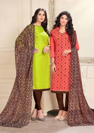 This Festive Season, Grab Two Dresses In Price Of One, Grab This Dress Material With Two Tops One In Parrot Green And Another In Dark Peach Color Paired With Brown Colored Bottom And Dupatta. Green Is Cotton Based And Peach Is Chanderi Fabricated Paired With Cotton Bottom And Chiffon Dupatta. Get This Pair Of Dress Material Now.