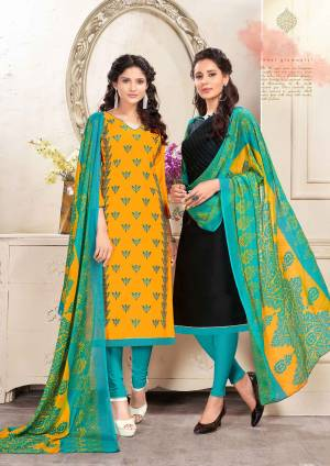 Get This Beautiful Pair Of Dress Material With Two Tops. Its Yellow Top Is Cotton Based and Black Is Chanderi. Paired With Blue Colored Cotton Bottom And Chiffon Dupatta. It Is Beautified With Resham Embroidery And Printed Dupatta.