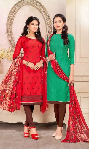 For A Simple Festive Look, Grab This Pretty Dress Material Containing Two Top With Single Bottom And Dupatta. Its Red Colored Top Is Fabricated On Cotton And Green One Is Chanderi Based Paired With Brown Colored Cotton Bottom And Red Colored Chiffon Dupatta. All ITs Fabrics Esnures Superb Comfort All Day Long.