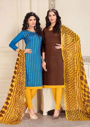 Beautiful Combiantion Is Here With This Dress Material With Two Tops. Its Blue Colored Top Is Cotton Based And Brown One Is Chanderi Fabricated Paired With Yellow Colored Bottom And Dupatta. Its Attractive Color And Elegant Design Will Earn You Lots Of Compliments From Onlookers.