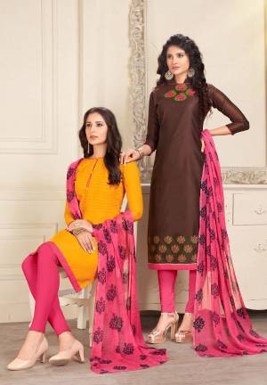 This Festive Season, Grab Two Dresses In Price Of One, Grab This Dress Material With Two Tops One In Musturd Yellow And Another In Btown Color Paired With Pink Colored Bottom And Dupatta. Green Is Cotton Based And Peach Is Chanderi Fabricated Paired With Cotton Bottom And Chiffon Dupatta. Get This Pair Of Dress Material Now.