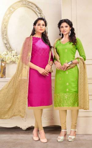 Get This Beautiful Pair Of Dress Material With Two Tops. Its Rani Pink Top Is Cotton Based and Light Green Is Chanderi. Paired With Beige Colored Cotton Bottom And Chiffon Dupatta. It Is Beautified With Resham Embroidery And Printed Dupatta.