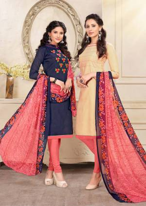 For A Simple Festive Look, Grab This Pretty Dress Material Containing Two Top With Single Bottom And Dupatta. Its Navy Blue Colored Top Is Fabricated On Cotton And Beige One Is Chanderi Based Paired With Old Rose Pink Colored Cotton Bottom And Chiffon Dupatta. All ITs Fabrics Esnures Superb Comfort All Day Long.