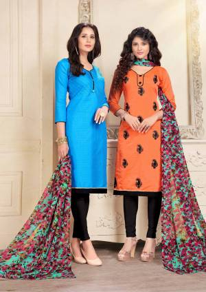 This Festive Season, Grab Two Dresses In Price Of One, Grab This Dress Material With Two Tops One In Blue And Another In Black  Color Paired With Black Colored Bottom And Multi Colored Dupatta Dupatta. Blue Is Cotton Based And Orange Is Chanderi Fabricated Paired With Cotton Bottom And Chiffon Dupatta. Get This Pair Of Dress Material Now.