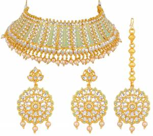 Grab This Heavy Necklace Set For The Upcoming Wedding Season. Pair This Up With Your Heavy Ethnic Attire In Same Or Any Contrasting Color.