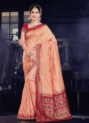 Get ready For The Upcoming Festive Season With This Designer Silk Based Saree Paired With Art Silk Fabricated Blouse. This Saree And Blouse Are Beautified With Heavy Weave All Over. Buy Now.