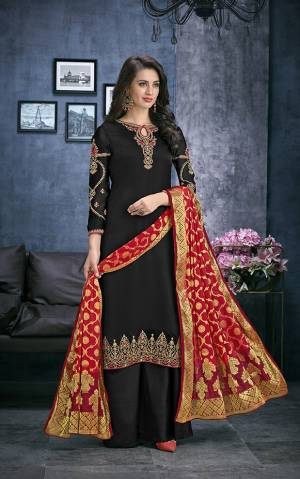 For A Bold And Beautiful Look, Grab This Designer Straight Cut Suit In Black Color Paired With Red Colored Dupatta. Its Top Is Fabricated On Satin Georgette Paired With Santoon Bottom And Jacquard Silk Fabricated Dupatta. This Suit Is Light Weight And Easy To Carry All Day Long.