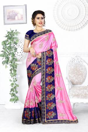 Look Pretty In This Designer Pink Colored Saree Paired With Contrasting Royal Blue Colored Blouse. This Saree And Blouse Are Silk Based Beautified With Attractive Embroidery. Buy This Designer Saree Now.