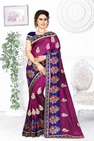 Look Pretty In This Designer Magenta Pink Colored Saree Paired With Contrasting Navy Blue Colored Blouse. This Saree And Blouse Are Silk Based Beautified With Attractive Embroidery. Buy This Designer Saree Now.