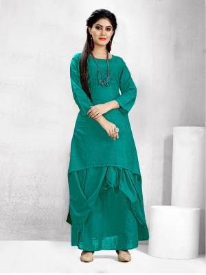 Get Ready For The Upcoming Festive Season With This Readymade Dhoti Kurta Set In Sea Green Color. This Pretty Kurta And Dhoti Are Fabricated On Cotton Slub And Also It Is Available In All Regular Sizes. Buy Now.