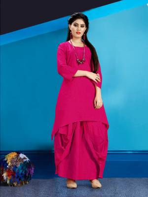 Get Ready For The Upcoming Festive Season With This Readymade Dhoti Kurta Set In Rani Pink Color. This Pretty Kurta And Dhoti Are Fabricated On Cotton Slub And Also It Is Available In All Regular Sizes. Buy Now.