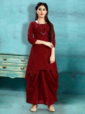 Get Ready For The Upcoming Festive Season With This Readymade Dhoti Kurta Set In Maroon Color. This Pretty Kurta And Dhoti Are Fabricated On Cotton Slub And Also It Is Available In All Regular Sizes. Buy Now.